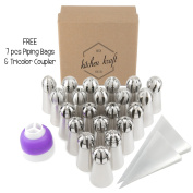 28 pcs Sphere Russian Piping Tips Set - 21 Icing Tips (XXL Size) + FREE 7 Piping Bags (Made in USA) + Tricolour Coupler | The MOST COMPLETE Frosting Nozzle Set | Pastry Cake Fondant Cupcake