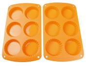 Webake 7.6cm Cavity Silicone Tart Pan, Silicone Cake Mould, Pie Pan, 2-Pack, Orange