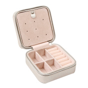Csinos Portable Jewellery Case Travel Earring Ring Necklace Accesories Organiser Box with Zipper
