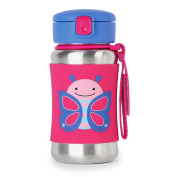 Skip Hop Baby Zoo Little Kid and Toddler Feeding Travel-To-Go Insulated Stainless Steel Straw Bottle, 350ml, Multi Blossom Butterfly