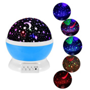 360 Degree Rotating Galaxy LED Night Lighting Lamp - Colour Changing Light Up Your Bedroom With This Moon, Star,Sky Romantic LED Nightlight Projector, Best Christmas Gift for Kids Relaxing Sleeping Aid