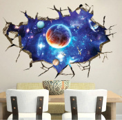 LiveGallery Removable PVC 3D Outer Space Planet Moon Earth Stars Wall Decals Home Art Decor Wall Decal for Kids Babys Children Bedroom Rooms Ceiling Living Room Nursery School