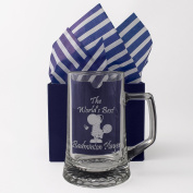 """Badminton """"The World's Best Badminton Player"""" One Pint Glass Tankard, Engraved, Presented in a Gift Box with Co-ordinating Tissue as shown. Badminton Gift, Badminton Player Present, Badminton Fan Birthday"""