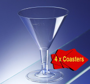 36 x Clear Plastic Disposable Martini/Cocktail Glasses 160ml. Ideal for picnics, camping and glamping, festivals, outdoor pool, bbq, garden and special occasions. Comes with 4 x AIOS drinks mats