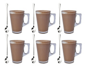 Set of 6 Latte Glass Tea Coffee Café Cappuccino Hot Drinking Cup 240ml with Free Spoons