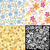 FOUR 30cm x 30cm Blinggasm Vinyl Sheets Set, Flowers Pattern Outdoor Vinyl 046