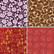 FOUR 30cm x 30cm Blinggasm Vinyl Sheets Set, Flowers Pattern Outdoor Vinyl 045