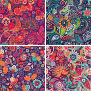 FOUR 30cm x 30cm Blinggasm Vinyl Sheets Set, Paisley Pattern Outdoor Vinyl 002