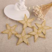 CraftbuddyUS 10 Gold Star Fabric Motifs, Iron On, Sew On Embroidery Patch