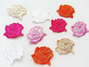 CraftbuddyUS 10 Mixed Rose Head Iron On, Fabric Flower Motifs, Sewing, Embroidery, Patches