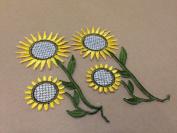 CraftbuddyUS 4 x Sunflower Iron Stick On Fabric Motifs Craft Sewing Embroidery