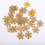 CraftbuddyUS 100 x 30mm Fabric Gold Snowflakes Wedding Party Craft
