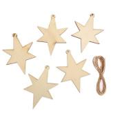 CraftbuddyUS 10 x Wooden Christmas STAR, Tags Wedding Decoration Embellishment