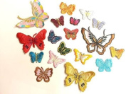 CraftbuddyUS Iron On, Stick On 10 Fabric Butterfly Motifs, Craft, Sewing, Embroidery, Patches