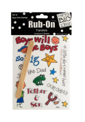 JT Scrapbooking Craft Activity Boys Only Sayings Rub-On Transfers - 24 Pack