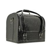 Drasawee Women's Portable Waterproof PU Cosmetic Toiletry Bag Travel Makeup Organiser Case Black2#