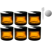 Amber Glass Straight Sided Jar - 60ml (6 Pack) + Spatulas and Labels