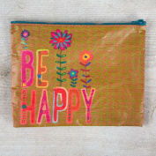 "Pack of 2 Natural Life ""Be happy"" Recycled Zip Pouch"