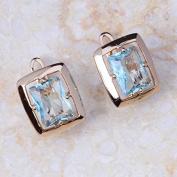 18K real Gold Plated Blue Topaz Fashion Jewellery Stud Earrings