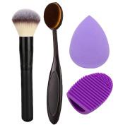 Addfavor 4pcs/set Makeup Set Kit Foundation Oval Brush Cosmetic Puff Facial Sponge Blender Blush Powder Make up Brushes Contour Brush Cleaner Egg Tools