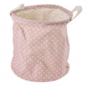 Hoomall Pink Dot Folding Mini Laundry Hamper Basket Bag Toy Easy Storage for Kids