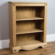 Home Discount Corona Low Bookcase Small Solid Distressed Waxed Pine