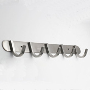 QT Premium Modern Wall Mounted Coat Rack with 5 Square Hooks - - Ultra durable with solid steel construction, Brushed stainless steel finish, Super easy installation, Rust and water proof