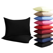 NEW 2 x PILLOW CASES HOUSEWIFE PLAIN COVER POLY COTTON BEDROOM LUXURY PAIR PACK