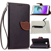 Galaxy A3 2016 Case Black,Galaxy A3 2016 Wallet Case,Galaxy A3 2016 Flip Cover,TOCASO Leaf Design Soft Slim PU Leather with Strap Lanyard Silicone Back Inner Case Folio Book Style Portable Carrying Protective Cases Covers Anti Scratch Bumper Shell Mone ..
