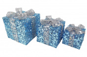 Set of 3 - Ice Blue & Silver Sequin Decorated Christmas Light Up Parcel Set