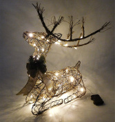 70cm Battery Operated Sitting Rattan Reindeer with Warm White LED Lights - Christmas Decorations