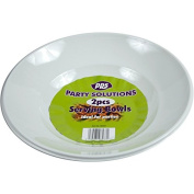 2 X WHITE PLASTIC DISPOSABLE SERVING PLATTER BOWLS - 28cm Great for serving sharing and snacks .