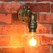 Fuloon Vintage Metal Loft Pipe Wall Light Lamp Retro Industrial Cafe Bar Wall Sconce E27 Lamp Base (bulb not included)