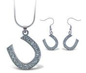 Puzzled Sparkling Horse Shoe Necklace and Earrings Set Charming Necklace and Earring Set - Symbols \ Animals Theme - Aqua Jewellery Always Unique Gift - Item #K6321-6371