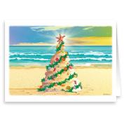 Beach Christmas Tree - Beach Theme Christmas Card 18 Cards & Envelopes