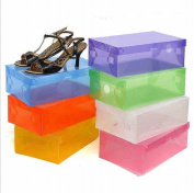 20 x Foldable Plastic Shoe Storage Boxes Stackable Box Organiser with Lid,Colour Random