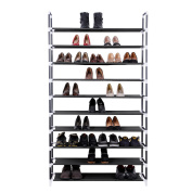Gexler 10 Tiers Shoe Rack 50 Pairs Non Woven Fabric Shoe Tower Storage Organiser, Black GSR10B