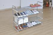 Black 4-Tier Shoe Rack Shoe Tower Shelf Storage Organiser Cabinet