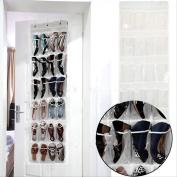 24 Pockets Clear Over Door Hanging Bag Shoe Rack Storage Space Saver Organiser