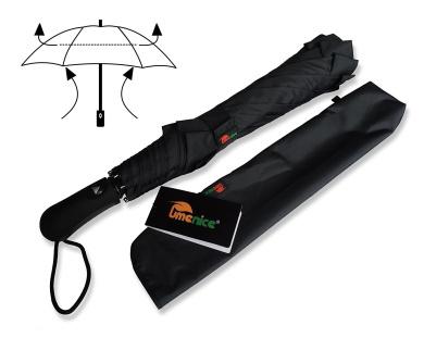 Umenice Premium Foldable Golf Umbrella Automatic 8-Rib Vented 210T Fabric Black Colour