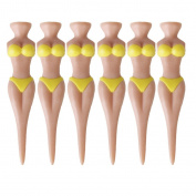 6pcs Bikini Lady Golf Tees Novelty Divot Tools Plastic---Yellow