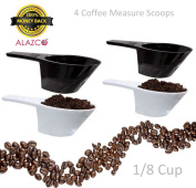 ALAZCO 4 pc COFFEE MEASURING SCOOP 1/8 CUP - Make The Perfect Pot Of Coffee Right At Home - Coffee Sugar & Spice!