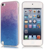 iPod Touch 6th/5th Generation Glitter Back Blue/Pink Silicone Tpu Case Cover Clear Bumper Edges+2 Screen Protector