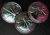 Czech Glass Button Dragonfly 31.5mm Jet Vitrail Purple-Green size14 1 pcs