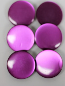 6 Large Vintage coat buttons in magenta/fuchsia colour