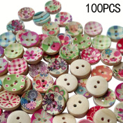 COCOTINA 100 Pcs Mixed Printed Flower Round Wooden Sewing Buttons Scrapbooking Craft