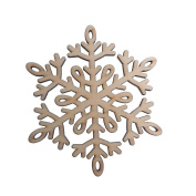 RayLineDo 10pcs Snowflake Hollow Design C Wooden Christmas Ornaments Embellishments with String