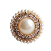 2 Pcs Luxury Pearl Rhinestone Decorative Buttons for Coat Sweater, A