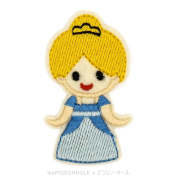 [ Dream Big, Princess ] Disney 's Cinderella Chibi Cinderella Clip Art - Easy & Fast Iron on, Sew on Embroidered Patch - Applique, Craft, Kid Boy Girl Cloth Repair & Decoration