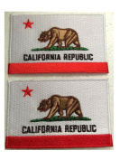 California Flag Bundle Lot of 2 Pieces Embroidered Patch USA White Borders Uniform Appliqué Emblem